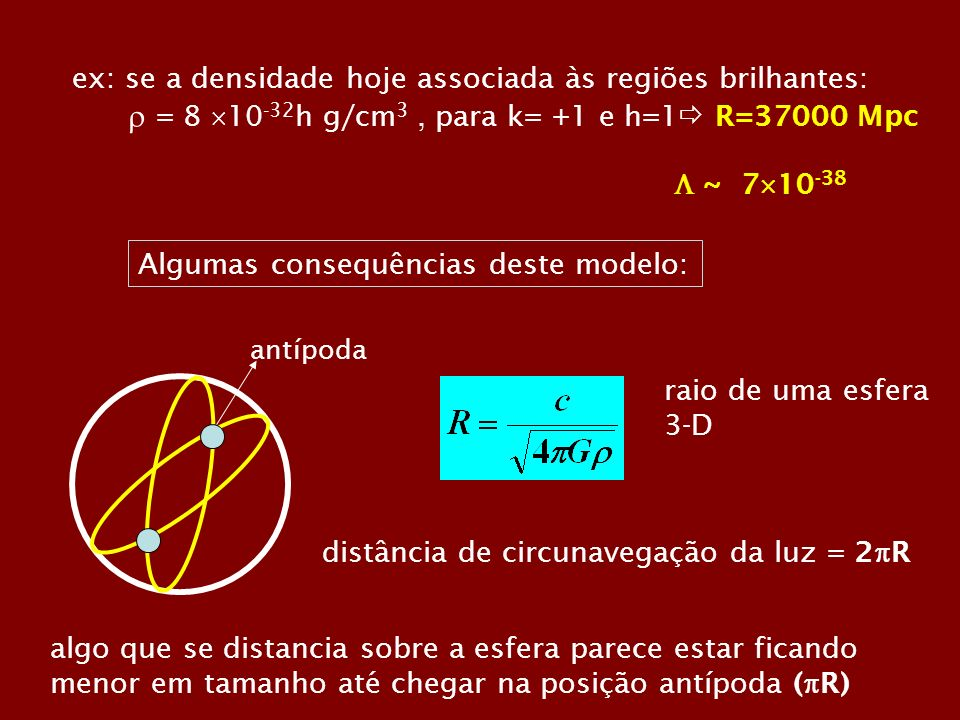 ex: se a densidade hoje associada às regiões brilhantes: = 8 10 -32 h g/cm 3, para k= +1 e h=1 R=37000 Mpc ~ 7 10 -38 Algumas consequências deste modelo: raio de uma esfera 3-D distância de circunavegação da luz = 2 R antípoda algo que se distancia sobre a esfera parece estar ficando menor em tamanho até chegar na posição antípoda ( R)