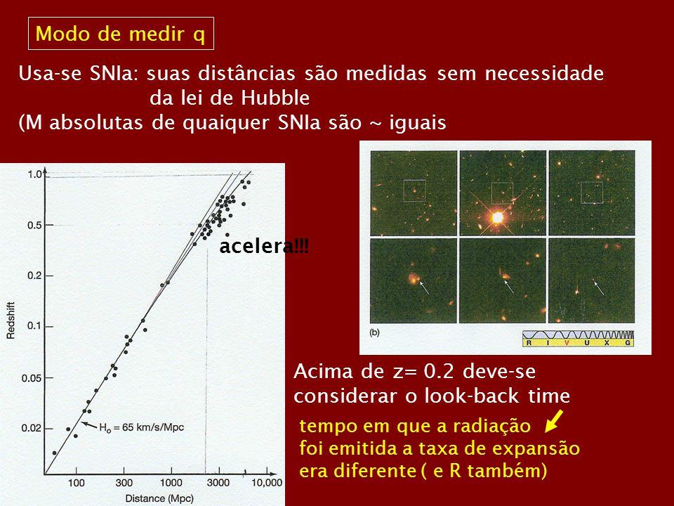 Modo de medir q Usa-se SNIa: suas distâncias são medidas sem necessidade da lei de Hubble (M absolutas de quaiquer SNIa são ~ iguais Acima de z= 0.2 d