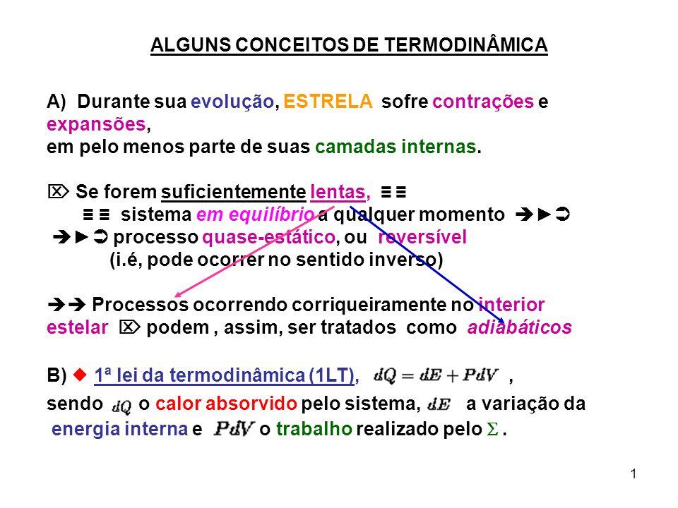 2 2ª lei da termodinâmica (2LT), sendo a variação de entropia do sistema, ; C) Calores Específicos (gases perfeitos): Algumas relações termodinâmicas p/ os gases perfeitos: »» de, com E = E(T) onde agora volume específico .