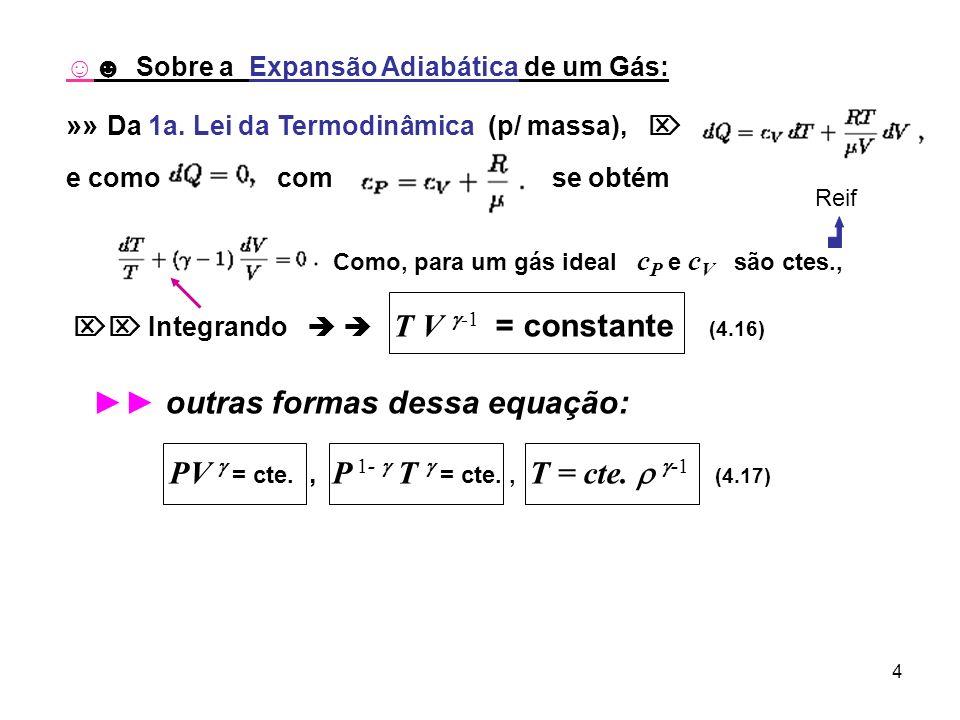 4 Sobre a Expansão Adiabática de um Gás: »» Da 1a. Lei da Termodinâmica (p/ massa), e como com se obtém Como, para um gás ideal c P e c V são ctes., I