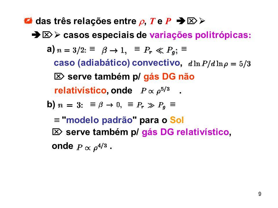 9 das três relações entre, T e P casos especiais de variações politrópicas : a) caso (adiabático) convectivo, serve também p/ gás DG não relativístico