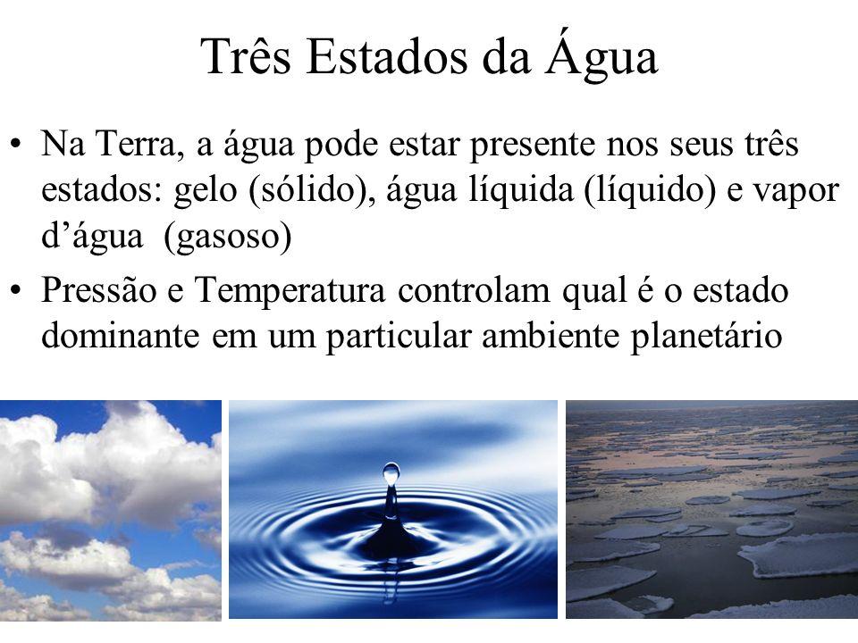 Três Estados da Água Na Terra, a água pode estar presente nos seus três estados: gelo (sólido), água líquida (líquido) e vapor dágua (gasoso) Pressão