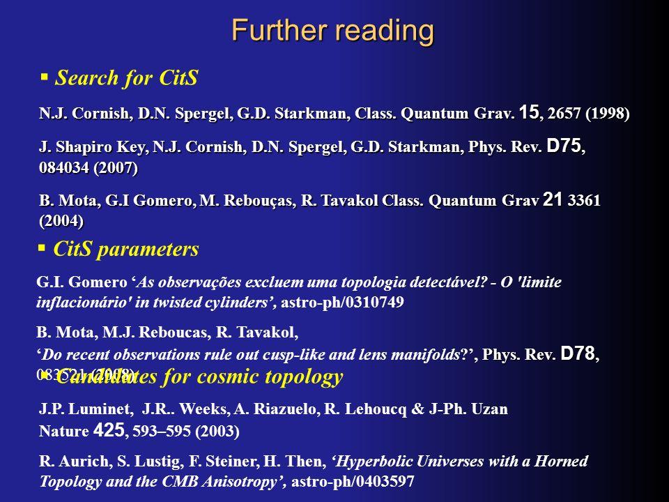 Further reading CitS parameters G.I. Gomero As observações excluem uma topologia detectável? - O 'limite inflacionário' in twisted cylinders, astro-ph