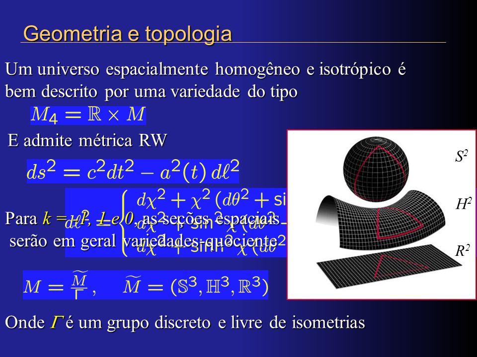 Um universo espacialmente homogêneo e isotrópico é bem descrito por uma variedade do tipo Geometria e topologia E admite métrica RW Para k = -1, 1 e 0