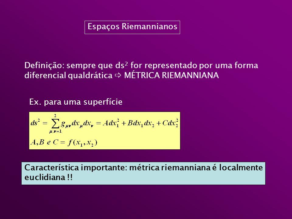 Espaços Riemannianos Definição: sempre que ds 2 for representado por uma forma diferencial qualdrática MÉTRICA RIEMANNIANA Ex. para uma superfície Car