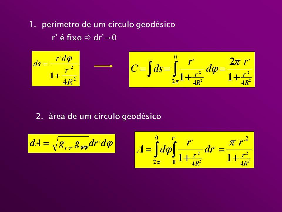 1. perímetro de um círculo geodésico r é fixo dr0 2. área de um círculo geodésico