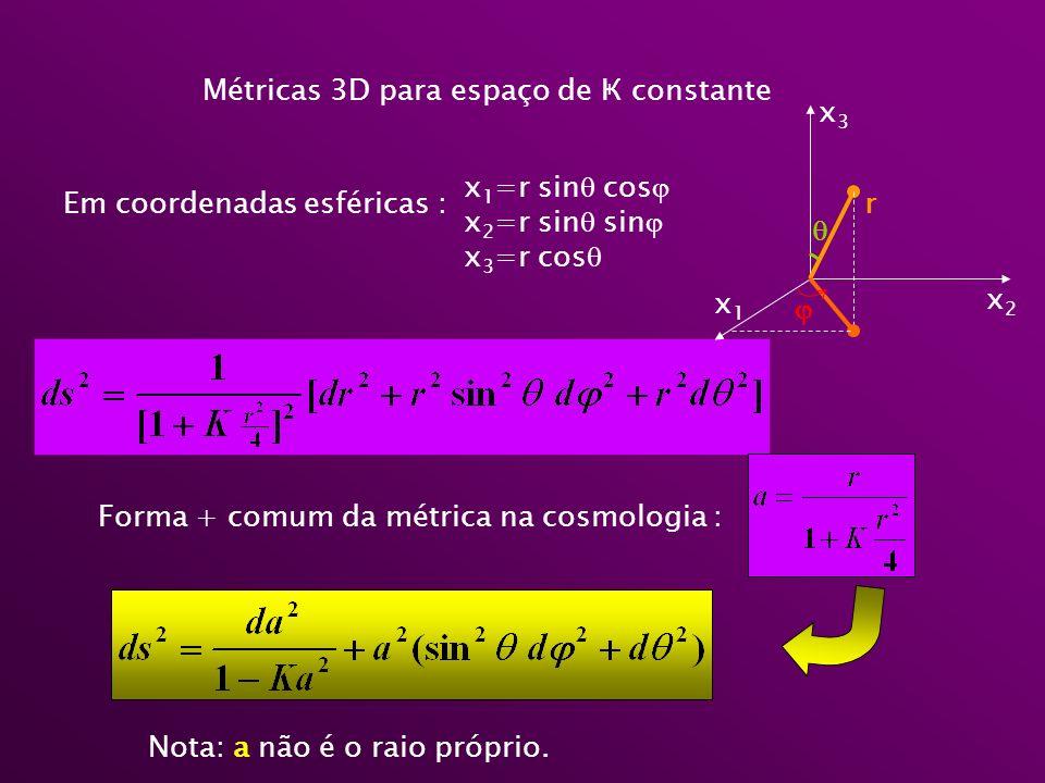 Métricas 3D para espaço de Ҝ constante Em coordenadas esféricas : x 1 =r sin cos x 2 =r sin sin x 3 =r cos Forma + comum da métrica na cosmologia : r