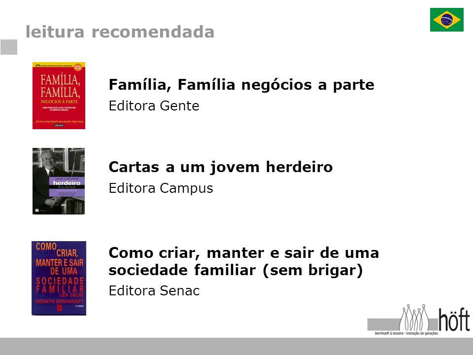 leitura recomendada Família, Família negócios a parte Editora Gente Cartas a um jovem herdeiro Editora Campus Como criar, manter e sair de uma socieda