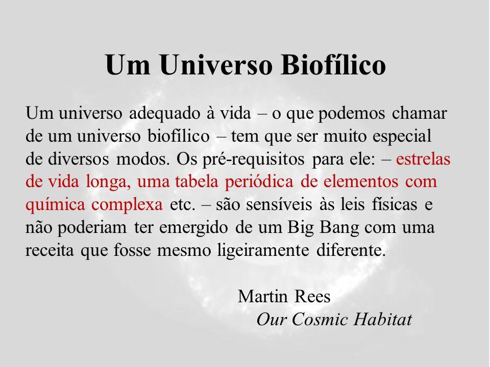 Um Universo Biofílico Martin Rees Our Cosmic Habitat Um universo adequado à vida – o que podemos chamar de um universo biofílico – tem que ser muito especial de diversos modos.