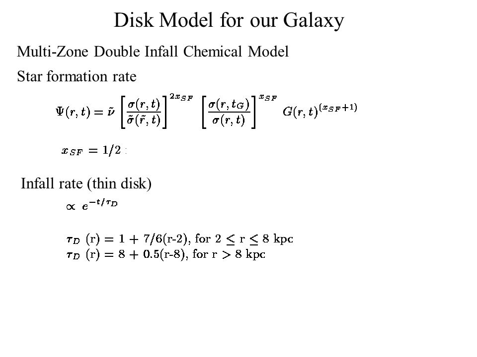Star formation rate Infall rate (thin disk) Disk Model for our Galaxy Multi-Zone Double Infall Chemical Model