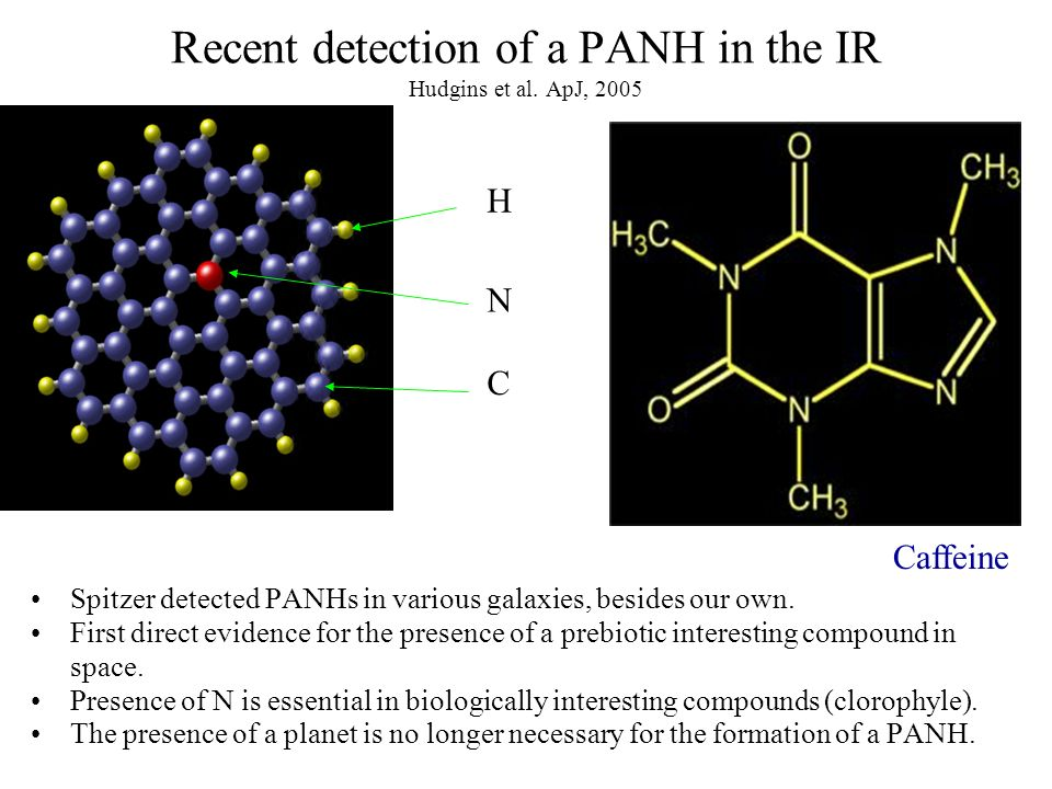 H C N Recent detection of a PANH in the IR Hudgins et al.