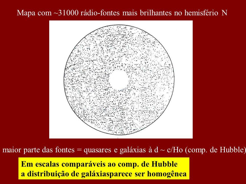 Mapa com ~31000 rádio-fontes mais brilhantes no hemisfério N maior parte das fontes = quasares e galáxias à d ~ c/Ho (comp. de Hubble) Em escalas comp