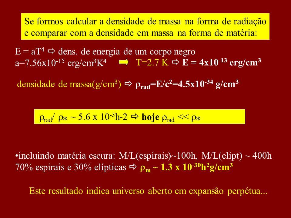 rad / * ~ 5.6 x 10 -3 h-2 hoje rad << * incluindo matéria escura: M/L(espirais)~100h, M/L(elipt) ~ 400h 70% espirais e 30% elípticas m ~ 1.3 x 10 -30