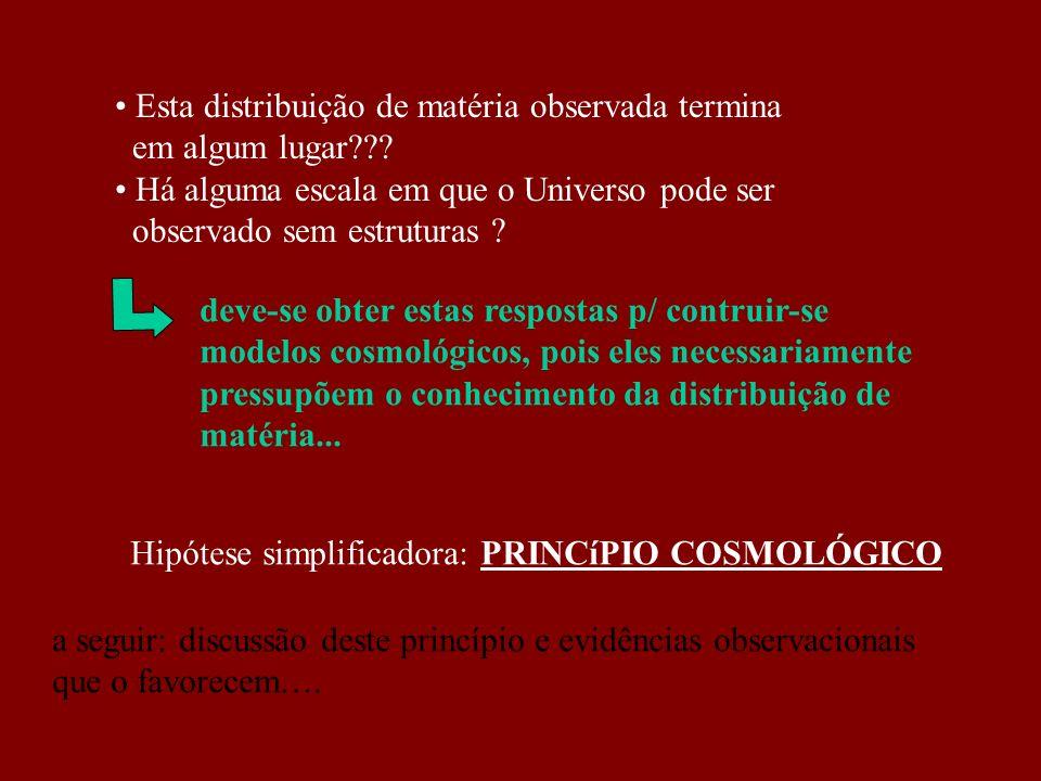 Esta distribuição de matéria observada termina em algum lugar??? Há alguma escala em que o Universo pode ser observado sem estruturas ? deve-se obter