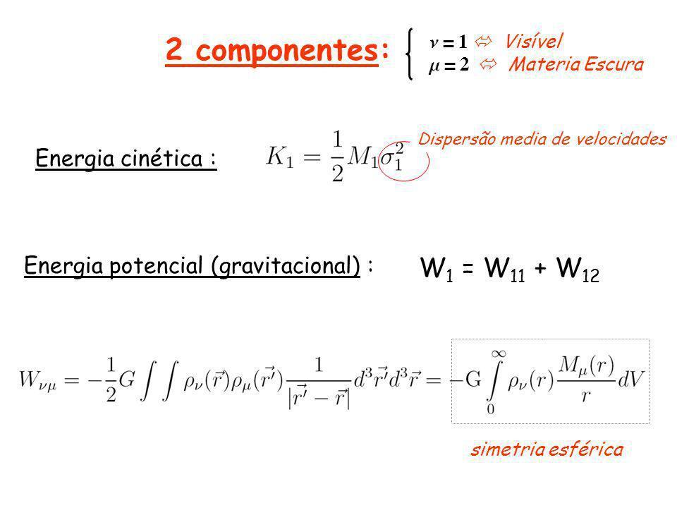 Energia cinética : Energia potencial (gravitacional) : W 1 = W 11 + W 12 simetria esférica n = 1 Visível m = 2 Materia Escura Dispersão media de velocidades 2 componentes: