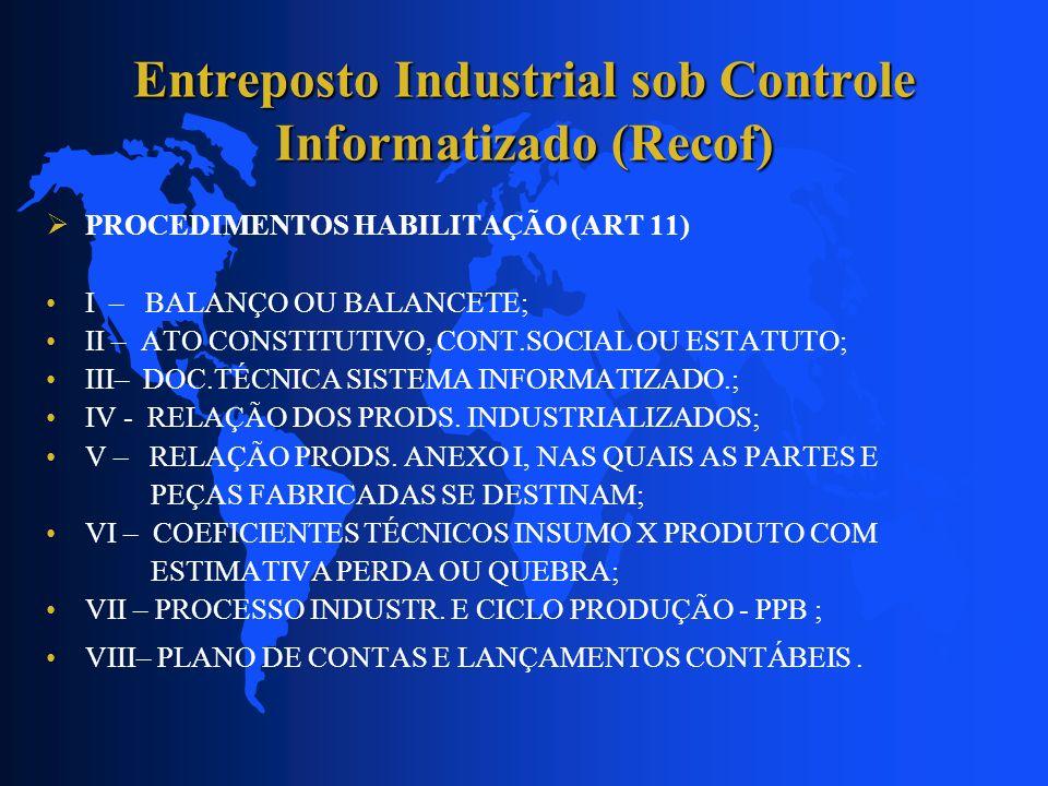 Entreposto Industrial sob Controle Informatizado (Recof) PROCEDIMENTOS HABILITAÇÃO (ART 11) I – BALANÇO OU BALANCETE; II – ATO CONSTITUTIVO, CONT.SOCI