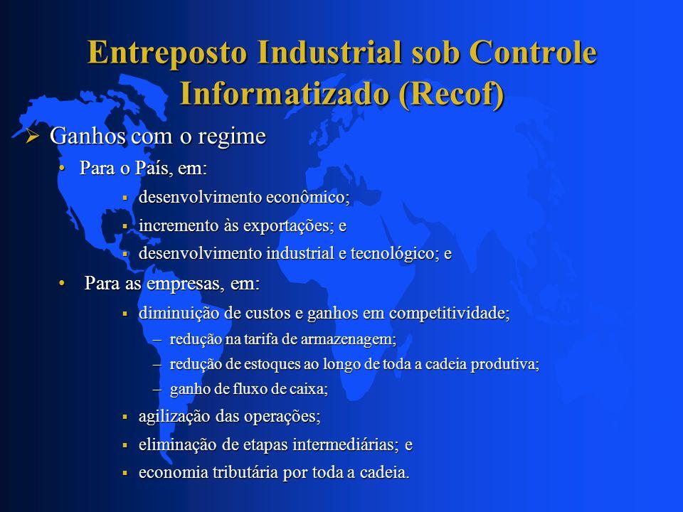 Entreposto Industrial sob Controle Informatizado (Recof) Ganhos com o regime Ganhos com o regime Para o País, em:Para o País, em: desenvolvimento econ