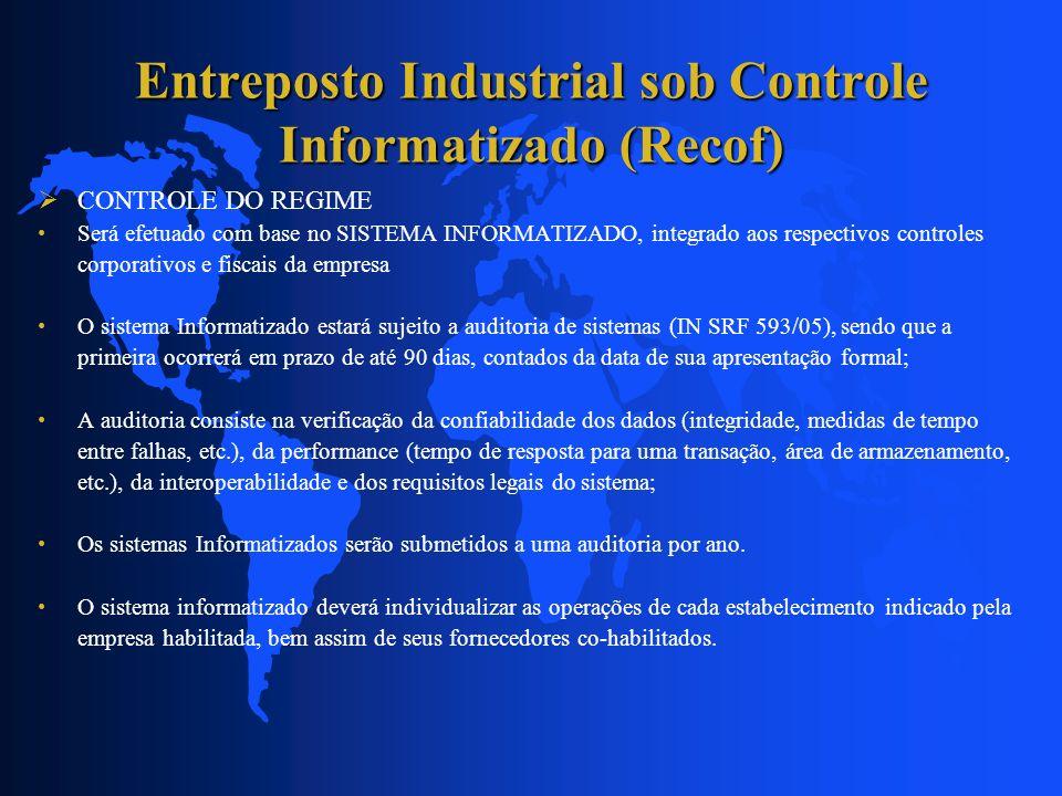 Entreposto Industrial sob Controle Informatizado (Recof) CONTROLE DO REGIME Será efetuado com base no SISTEMA INFORMATIZADO, integrado aos respectivos