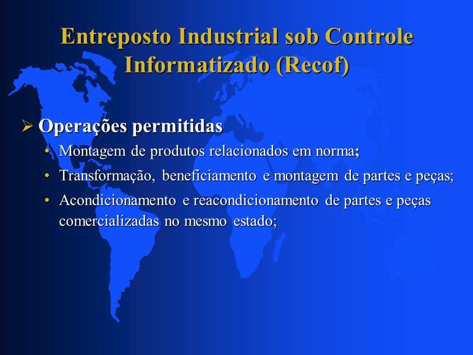 Entreposto Industrial sob Controle Informatizado (Recof) Outras operações permitidas Outras operações permitidas Testes de performance, resistência ou funcionamento (produtos do anexo I);Testes de performance, resistência ou funcionamento (produtos do anexo I); Desenvolvimento de produtos 9produtos do anexo I);Desenvolvimento de produtos 9produtos do anexo I); Renovação, recondicionamento, manutenção e reparo de (usados):Renovação, recondicionamento, manutenção e reparo de (usados): produtos da indústria aeronáutica; e produtos da indústria aeronáutica; e Motores e transmissões; Motores e transmissões; Desmontagem de produtos da indústria aeronáutica p/exportação (usados).Desmontagem de produtos da indústria aeronáutica p/exportação (usados).
