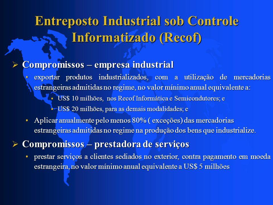 Entreposto Industrial sob Controle Informatizado (Recof) Compromissos – empresa industrial Compromissos – empresa industrial exportar produtos industr