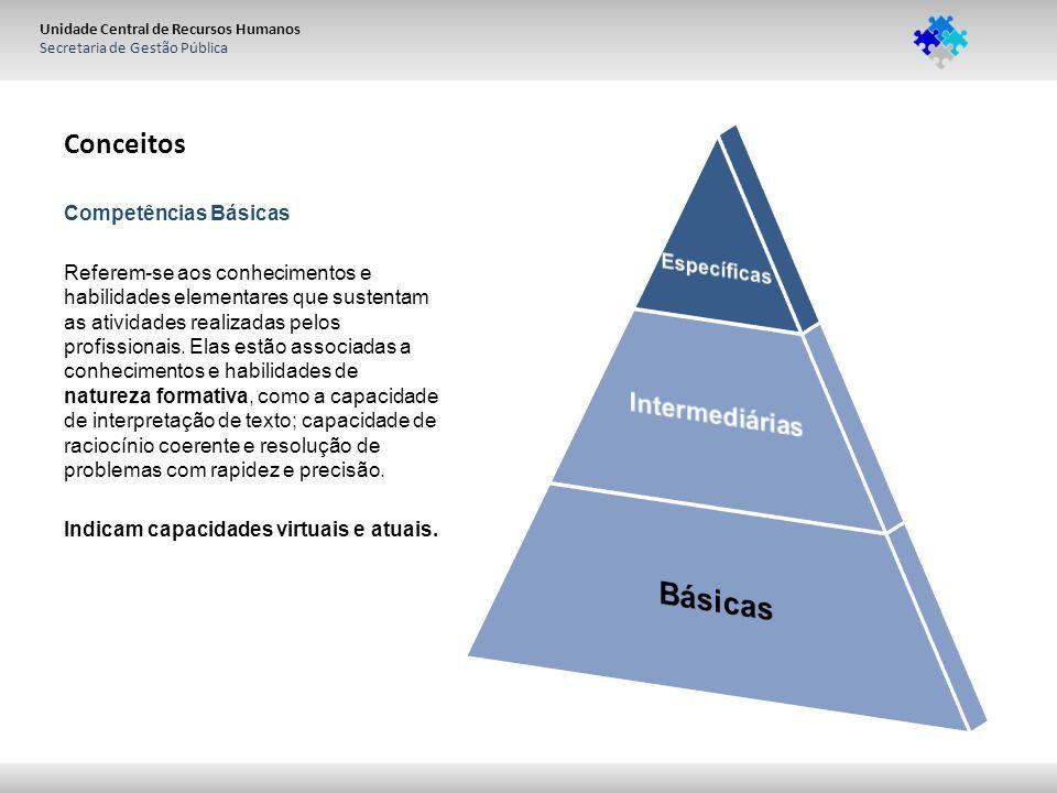 Unidade Central de Recursos Humanos Secretaria de Gestão Pública Conceitos Competências Básicas Referem-se aos conhecimentos e habilidades elementares