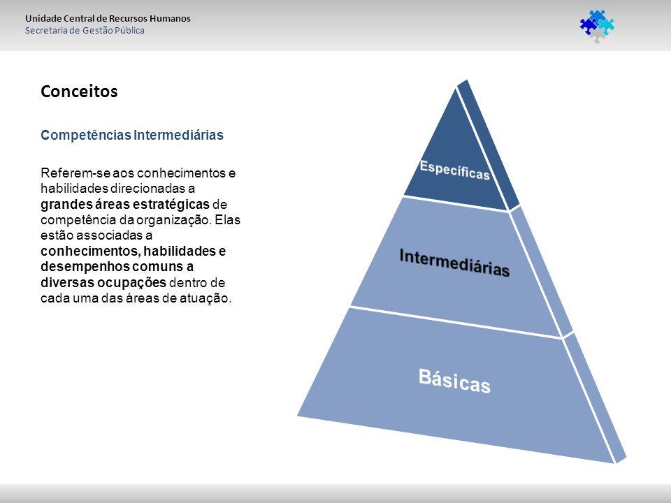 Unidade Central de Recursos Humanos Secretaria de Gestão Pública Conceitos Competências Intermediárias Referem-se aos conhecimentos e habilidades direcionadas a grandes áreas estratégicas de competência da organização.
