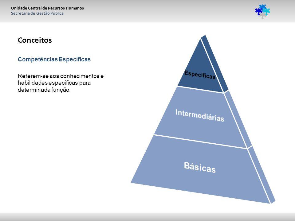 Unidade Central de Recursos Humanos Secretaria de Gestão Pública Conceitos Competências Específicas Referem-se aos conhecimentos e habilidades específ