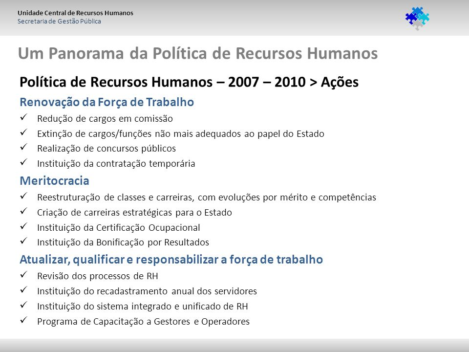 Unidade Central de Recursos Humanos Secretaria de Gestão Pública Um Panorama da Política de Recursos Humanos Política de Recursos Humanos – 2007 – 201