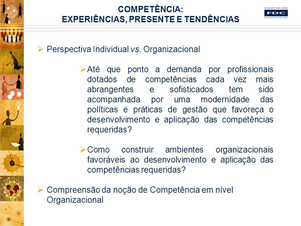 Desafios à Operacionalização do Construto Vinculação entre Estratégia, Competências Organizacionais e Individuais Experiências nos níveis Estratégico, Tático e Operacional Implicações Organizacionais e Pessoais Relações entre Competência e outros Construtos do Comportamento Humano nas Organizações Competência e Construção de uma Nova Ordem nas Relações Sujeito-Trabalho-Organizações COMPETÊNCIA: EXPERIÊNCIAS, PRESENTE E TENDÊNCIAS