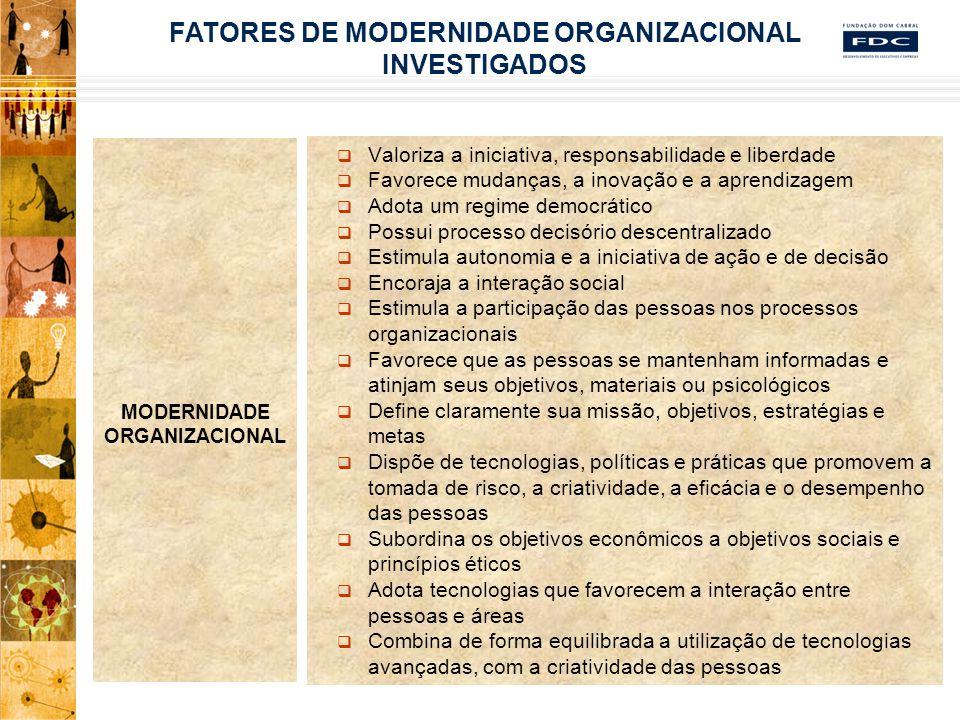 SATISFAÇÃO NO TRABALHO Variedade de habilidades Identidade da Tarefa Significado da Tarefa Inter-relacionamento Autonomia Feedback Intrínseco e Extrínseco Possibilidade de crescimento Volume de trabalho Gerência Compensação Ambiente organizacional FATORES DE SATISFAÇÃO INVESTIGADOS