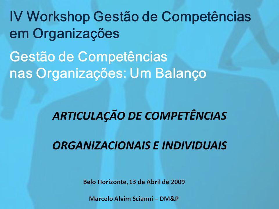 IV Workshop Gestão de Competências em Organizações Gestão de Competências nas Organizações: Um Balanço ARTICULAÇÃO DE COMPETÊNCIAS ORGANIZACIONAIS E I