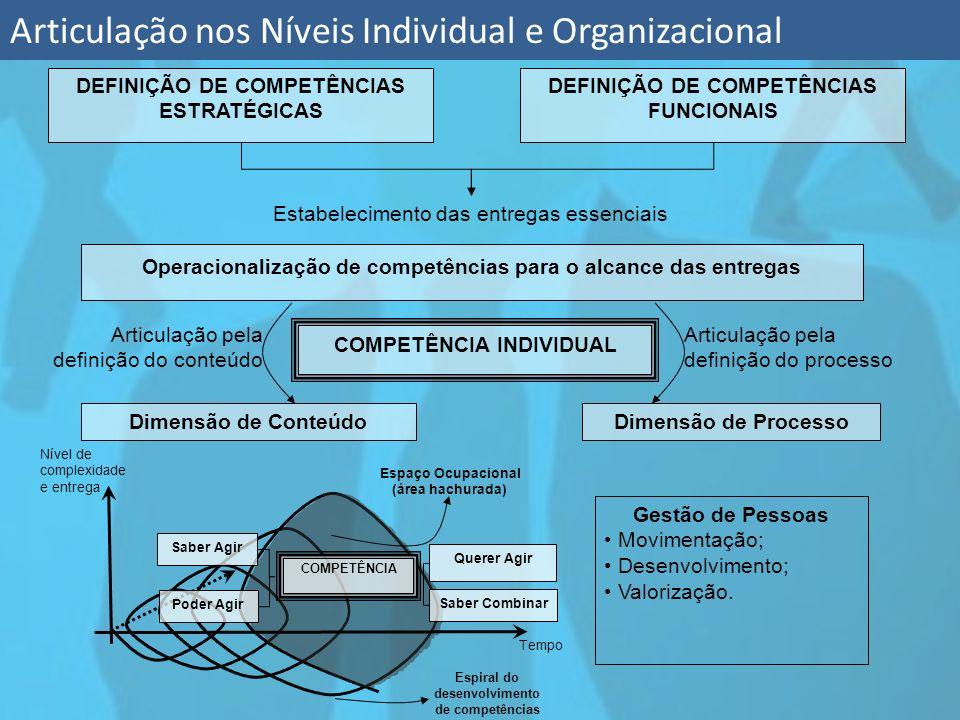 Articulação nos Níveis Individual e Organizacional DEFINIÇÃO DE COMPETÊNCIAS ESTRATÉGICAS DEFINIÇÃO DE COMPETÊNCIAS FUNCIONAIS Estabelecimento das ent