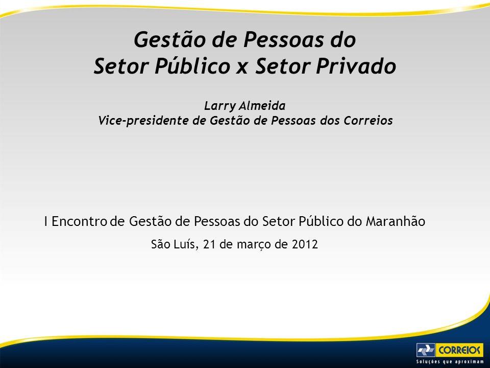I Encontro de Gestão de Pessoas do Setor Público do Maranhão São Luís, 21 de março de 2012 Gestão de Pessoas do Setor Público x Setor Privado Larry Al