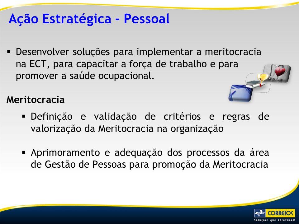 Desenvolver soluções para implementar a meritocracia na ECT, para capacitar a força de trabalho e para promover a saúde ocupacional. Meritocracia Defi