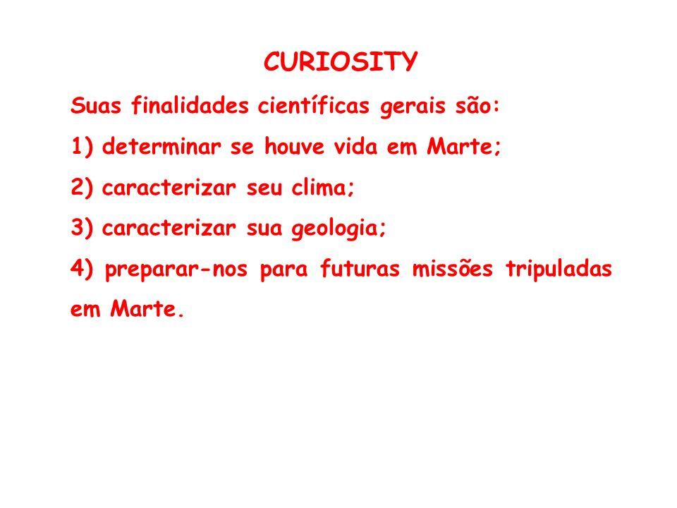 CURIOSITY Suas finalidades científicas gerais são: 1) determinar se houve vida em Marte; 2) caracterizar seu clima; 3) caracterizar sua geologia; 4) preparar-nos para futuras missões tripuladas em Marte.