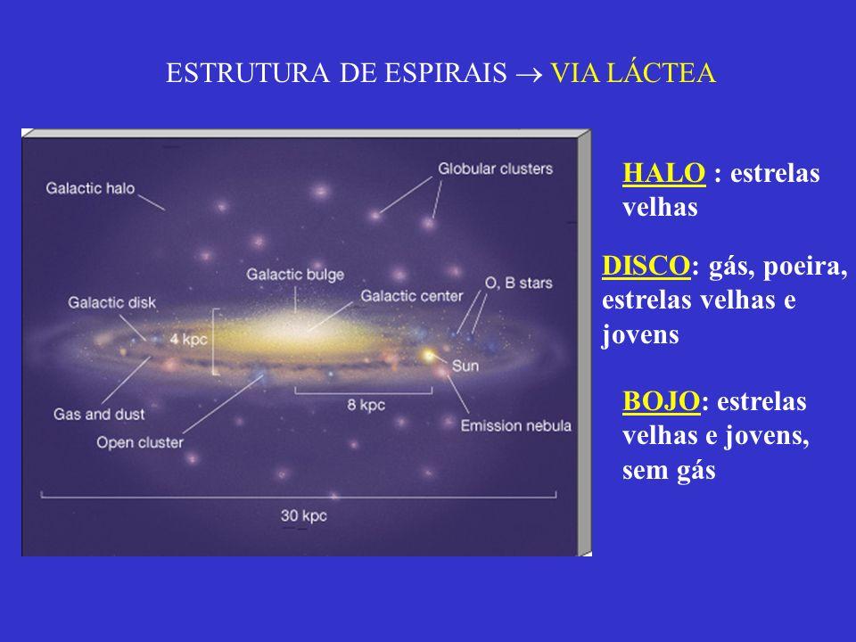 ESTRUTURA DE ESPIRAIS VIA LÁCTEA HALO : estrelas velhas DISCO: gás, poeira, estrelas velhas e jovens BOJO: estrelas velhas e jovens, sem gás
