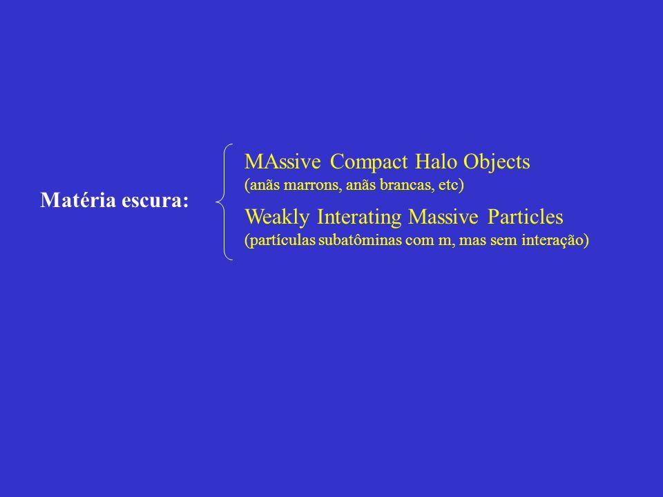 Matéria escura: MAssive Compact Halo Objects (anãs marrons, anãs brancas, etc) Weakly Interating Massive Particles (partículas subatôminas com m, mas