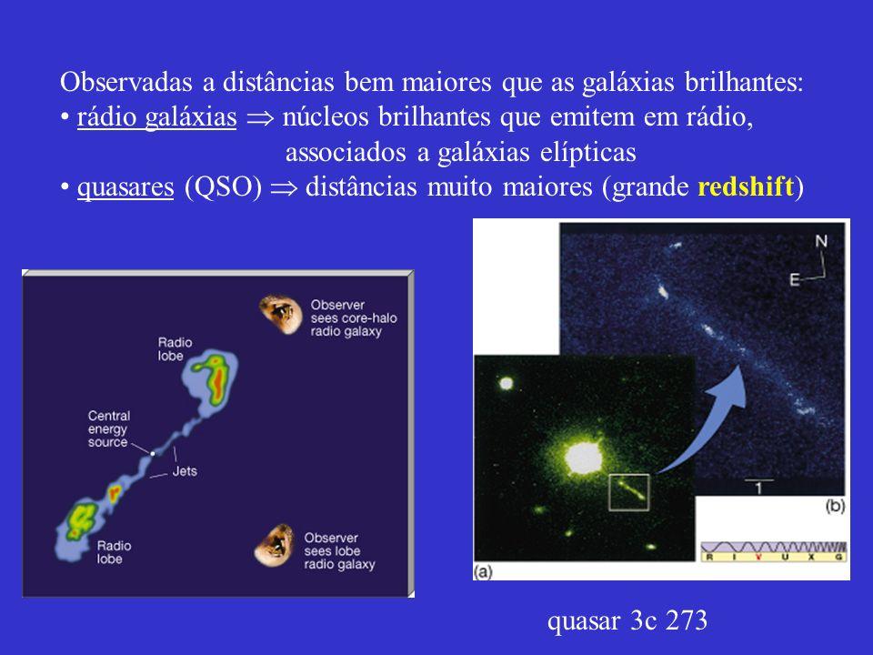 Observadas a distâncias bem maiores que as galáxias brilhantes: rádio galáxias núcleos brilhantes que emitem em rádio, associados a galáxias elípticas