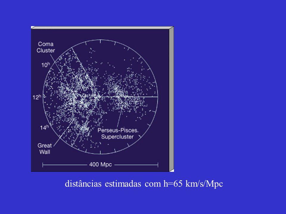 distâncias estimadas com h=65 km/s/Mpc