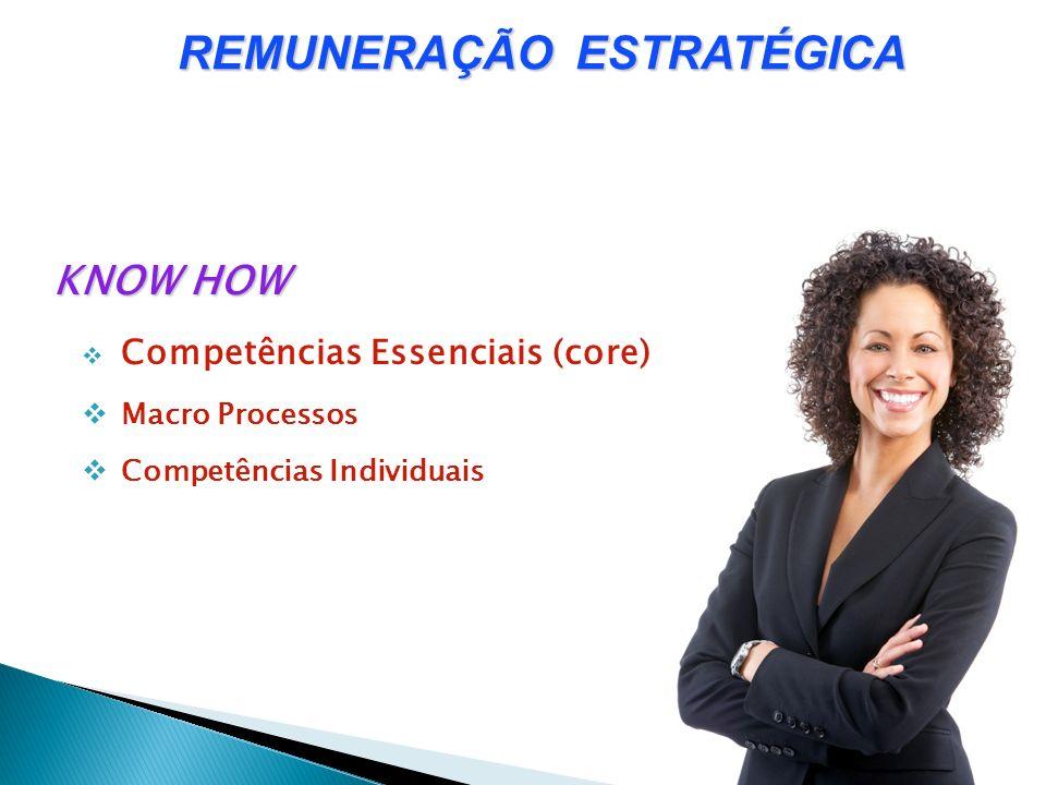 KNOW HOW Competências Essenciais (core) Macro Processos Competências Individuais REMUNERAÇÃO ESTRATÉGICA