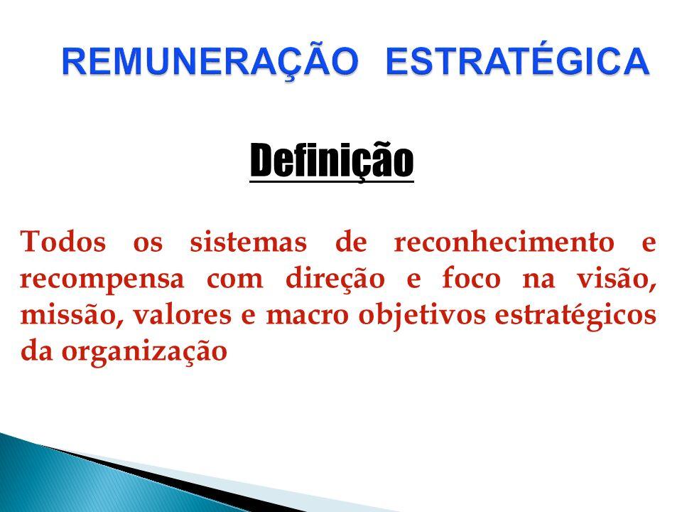 REMUNERAÇÃO ESTRATÉGICA Todos os sistemas de reconhecimento e recompensa com direção e foco na visão, missão, valores e macro objetivos estratégicos d