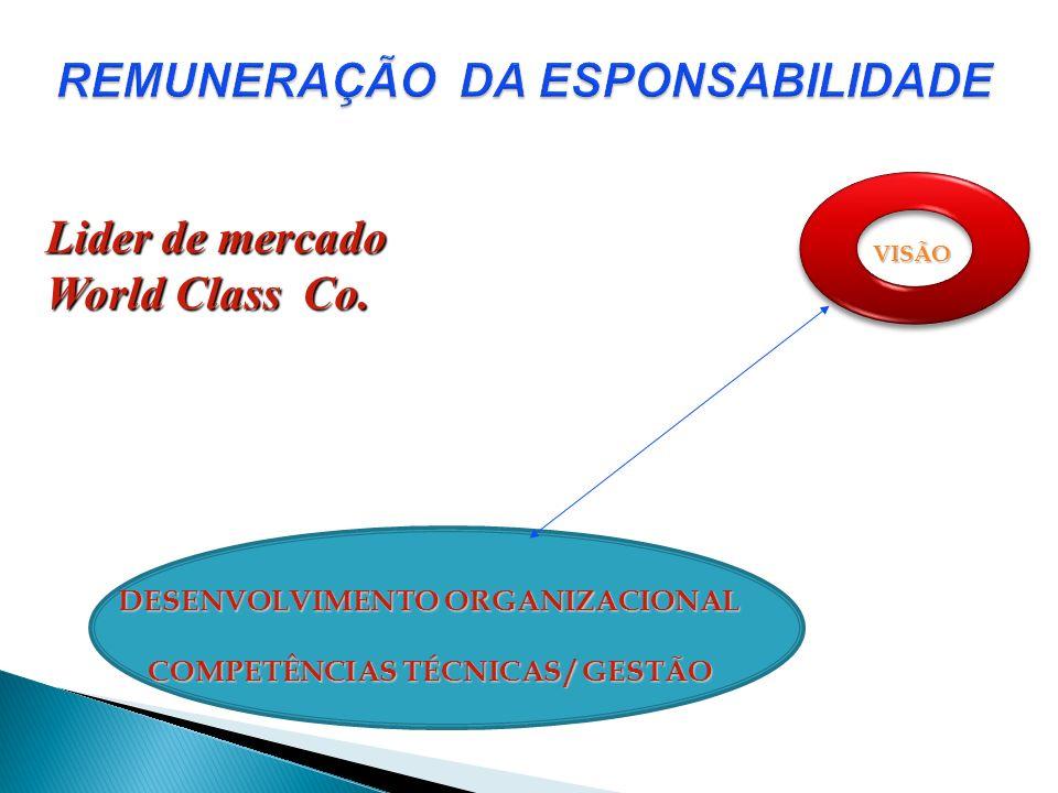 VISÃO DESENVOLVIMENTO ORGANIZACIONAL COMPETÊNCIAS TÉCNICAS / GESTÃO Lider de mercado World Class Co.