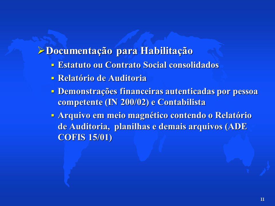 11 Documentação para Habilitação Documentação para Habilitação Estatuto ou Contrato Social consolidados Estatuto ou Contrato Social consolidados Relat