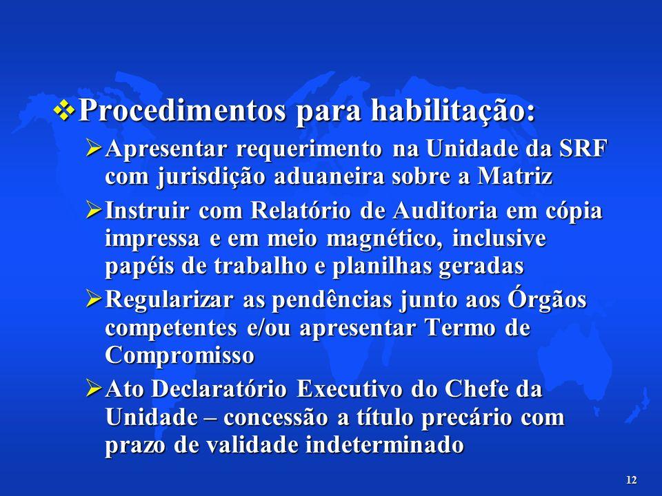 12 Procedimentos para habilitação: Procedimentos para habilitação: Apresentar requerimento na Unidade da SRF com jurisdição aduaneira sobre a Matriz A