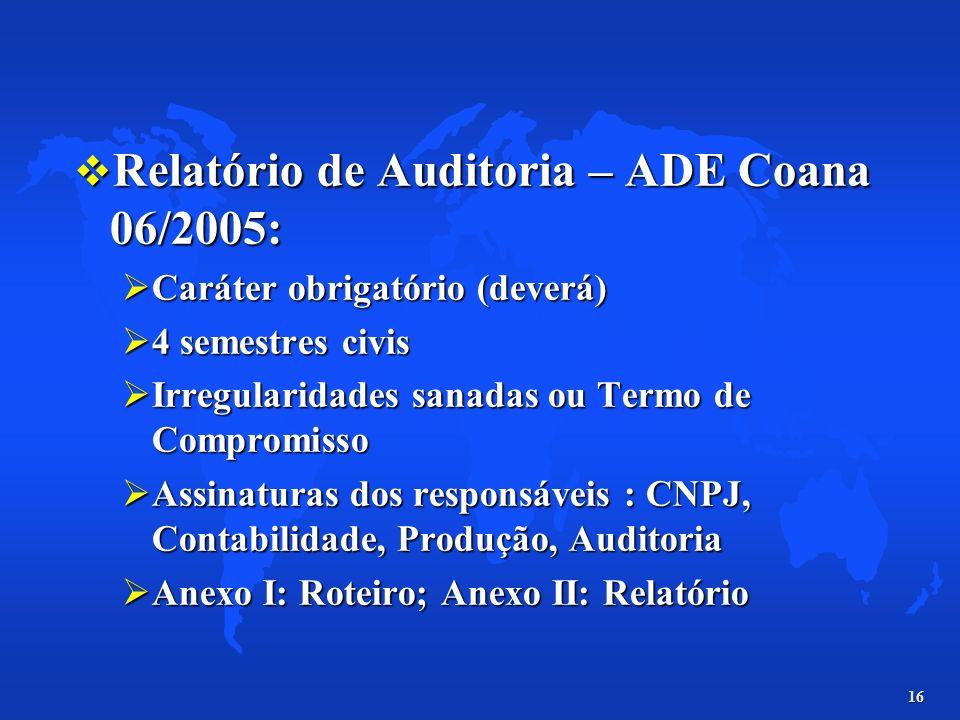 16 Relatório de Auditoria – ADE Coana 06/2005: Relatório de Auditoria – ADE Coana 06/2005: Caráter obrigatório (deverá) Caráter obrigatório (deverá) 4