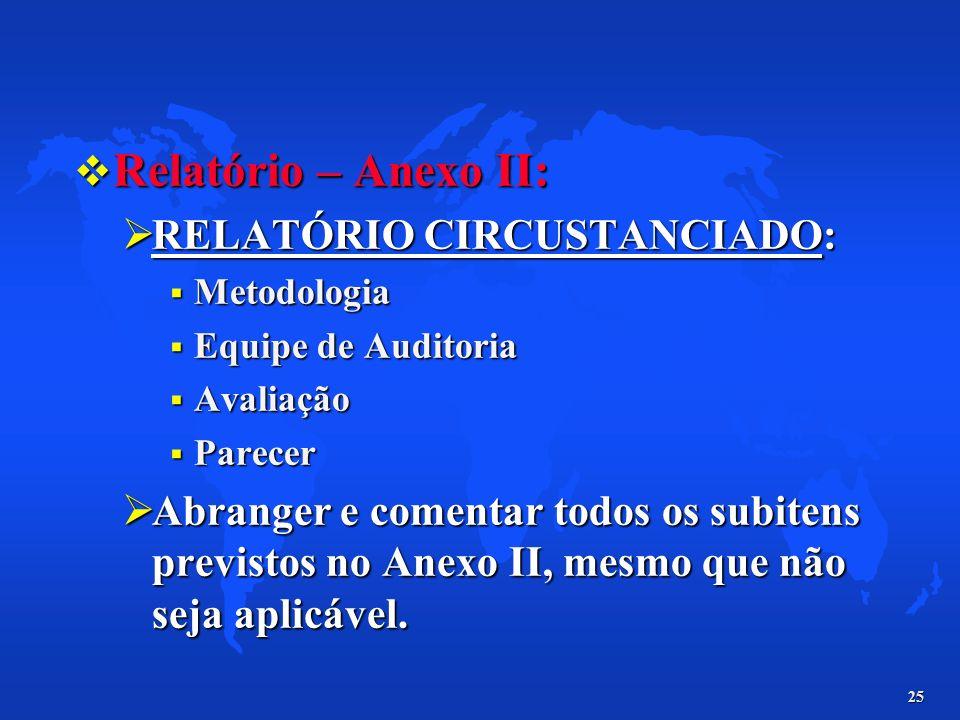 25 Relatório – Anexo II: Relatório – Anexo II: RELATÓRIO CIRCUSTANCIADO: RELATÓRIO CIRCUSTANCIADO: Metodologia Metodologia Equipe de Auditoria Equipe