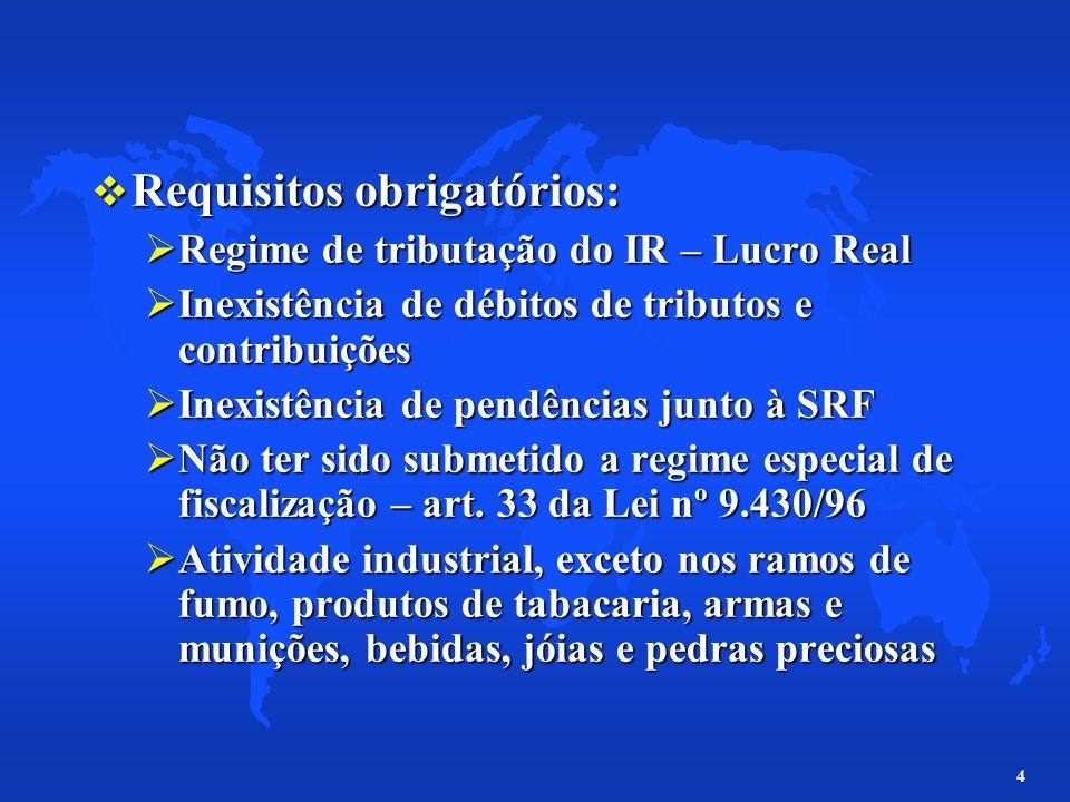 4 Requisitos obrigatórios: Requisitos obrigatórios: Regime de tributação do IR – Lucro Real Regime de tributação do IR – Lucro Real Inexistência de dé