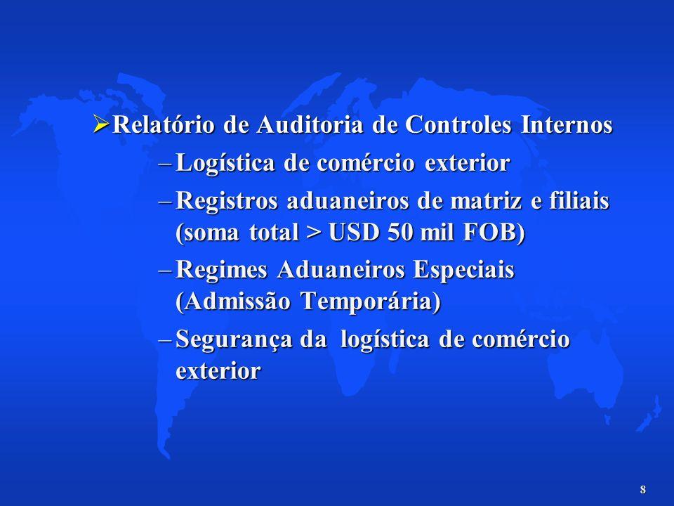 8 Relatório de Auditoria de Controles Internos Relatório de Auditoria de Controles Internos –Logística de comércio exterior –Registros aduaneiros de m