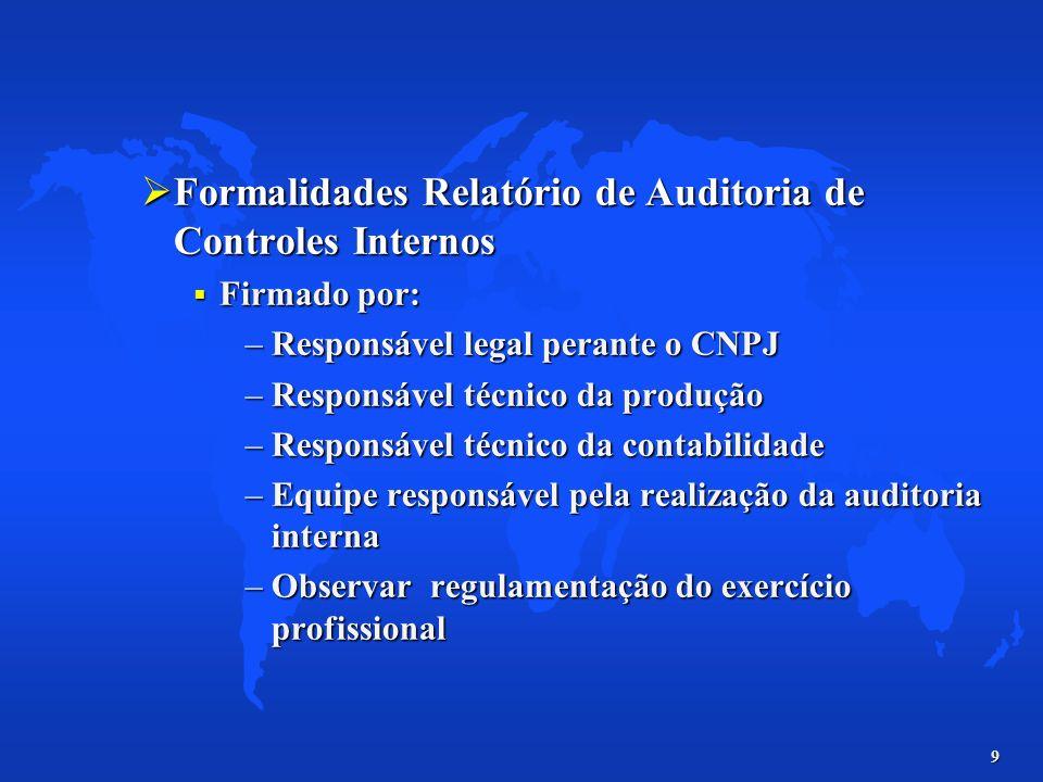 9 Formalidades Relatório de Auditoria de Controles Internos Formalidades Relatório de Auditoria de Controles Internos Firmado por: Firmado por: –Respo