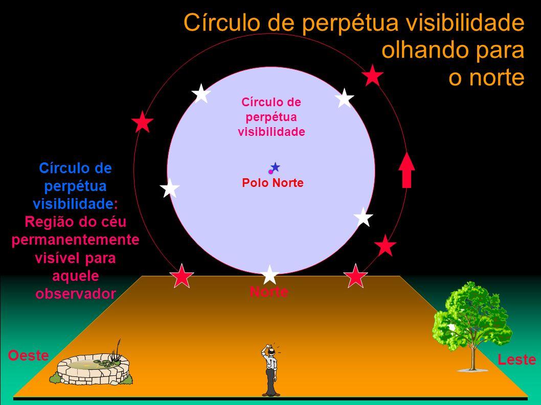 Círculo de perpétua visibilidade olhando para o norte Polo Norte Leste Oeste Norte Círculo de perpétua visibilidade Círculo de perpétua visibilidade:
